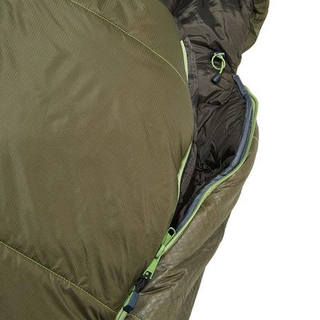 FORCLAZ 0° LIGHT Hiking sleeping bag khaki right zip