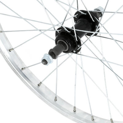"Kids Wheel 20"" Rear Single Wall Rim Freewheel - Silver"