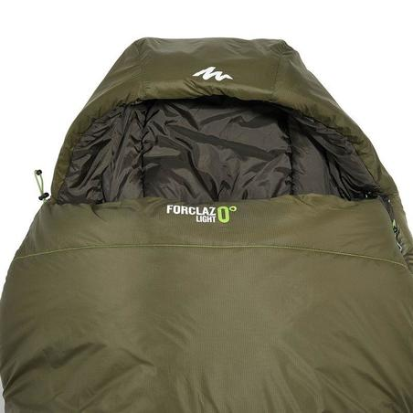 Hiking sleeping bag FORCLAZ 0° LIGHT Khaki Right Zip
