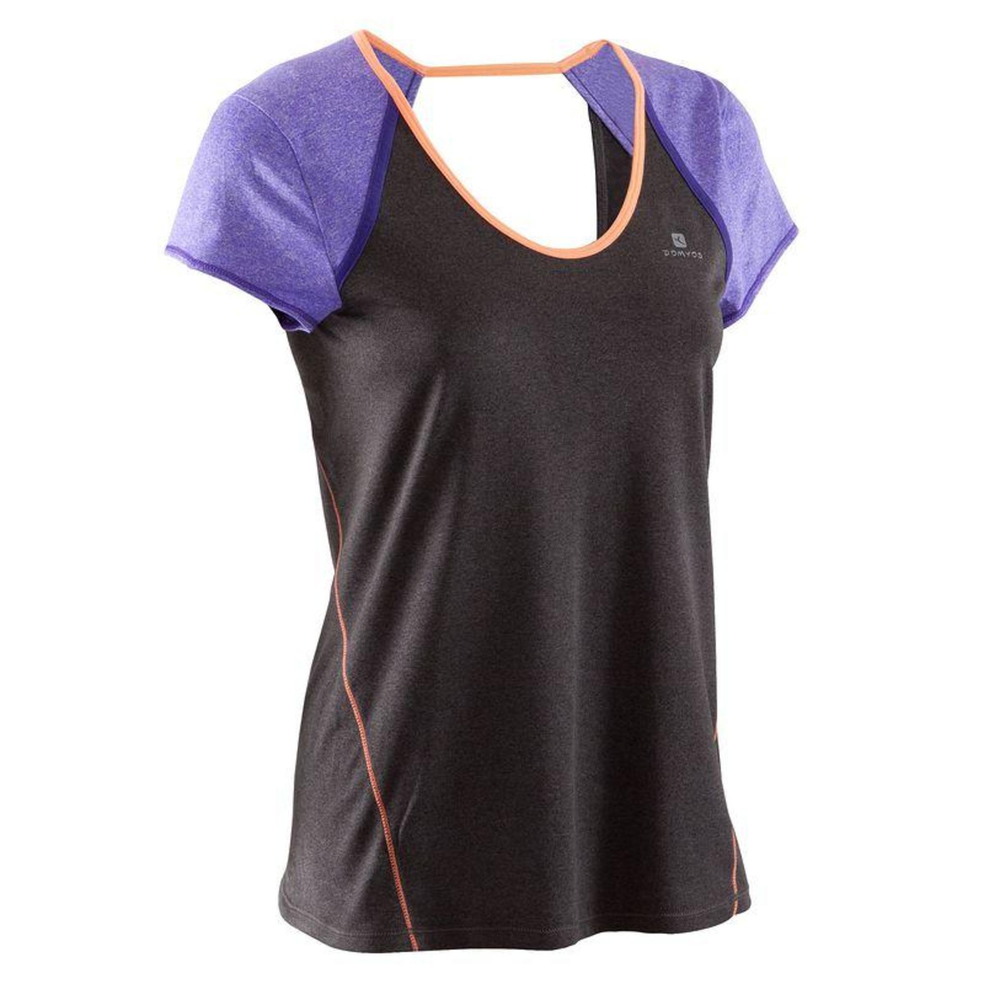 tee shirt breathe gris fonc violet fitness femme domyos by decathlon. Black Bedroom Furniture Sets. Home Design Ideas