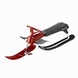 Slee 2 plaatsen met metalen rem en stuur Snowblade rood