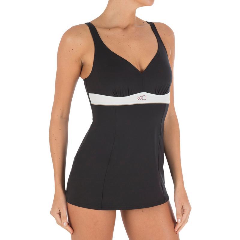 Women's Body-Sculpting 1-piece Skirt Swimsuit Kaipearl - Black