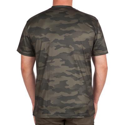 Camiseta transpirable manga corta 100 camuflaje caqui