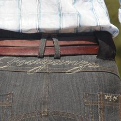 Damesrijbroek met rechte pijpen jeans grijs - 801943