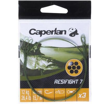 Повідець Resifight 7 для ловлі хижої риби, з 2 петлями, на 12 кг, 3 шт.