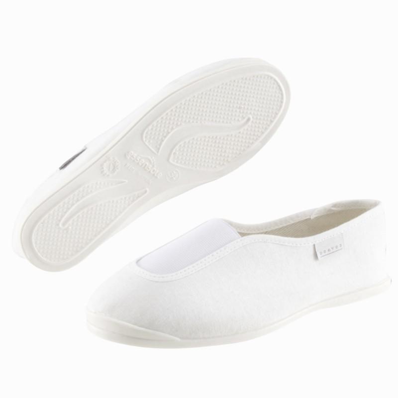 Chaussons de gym douce adulte blanc rythm 300. domyos