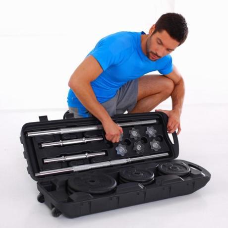 Kit halt res et barres musculation 50 kg domyos by decathlon - Banc de musculation plus barre et poids ...