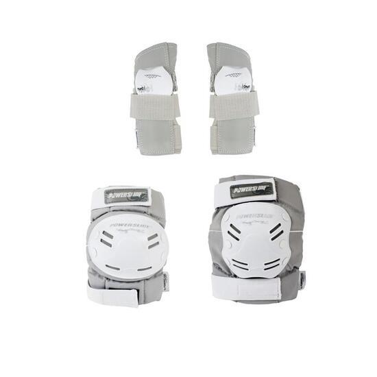 Set van 3 skatebeschermers voor dames Powerslide Standard grijs/wit - 805541
