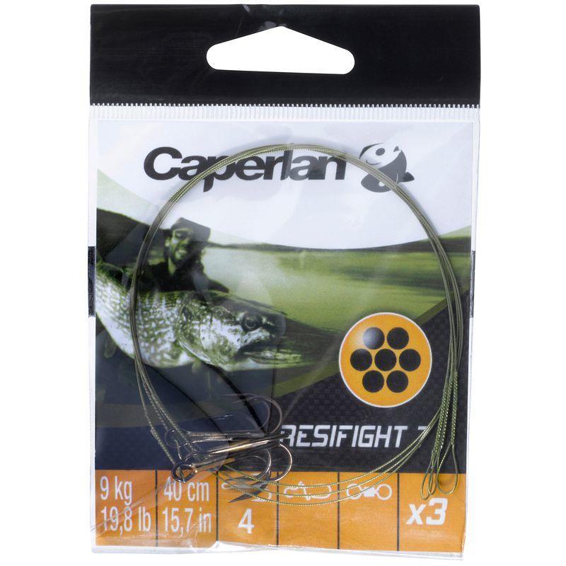 Caperlan Metalen onderlijn roofvishengelen Resifight 7 driehaak 12 kg