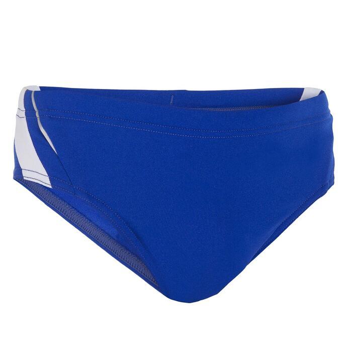 Badehose Slip 900 Yoke Jungen blau/weiß