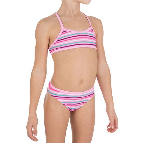 Meisjesbikini met topje zonder sluiting en gekruiste bandjes op de rug Palmier - 807545