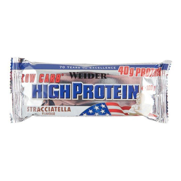 Barrita proteica Weider HIGH PROTEIN Low carb stracciatela 100 g