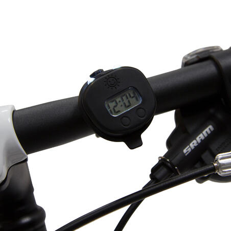 500 Kids' Bike Light + Digital Watch - Black