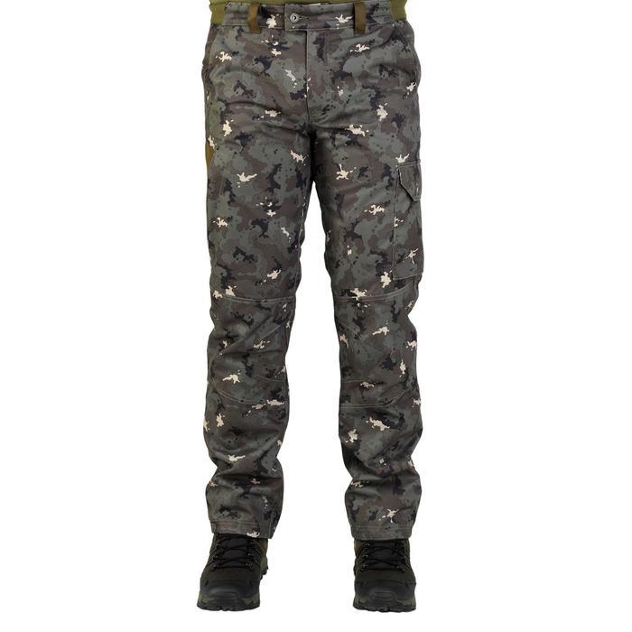 Jagd-Regenhose warm 500 camouflage islandgrün