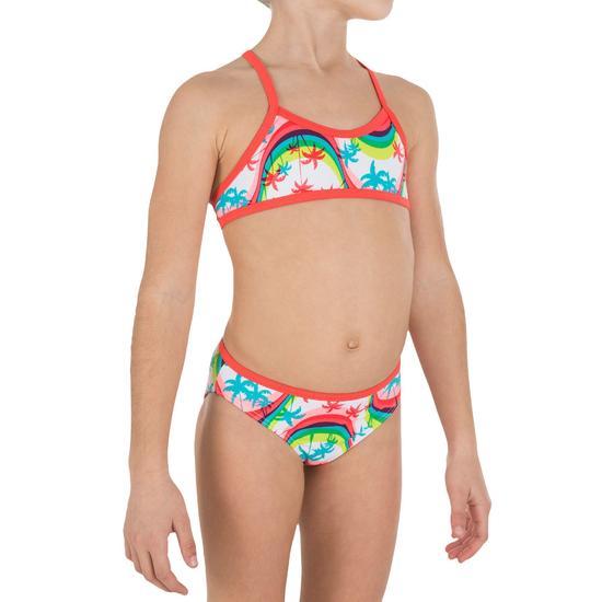 Meisjesbikini met topje zonder sluiting en gekruiste bandjes op de rug Palmier - 810711