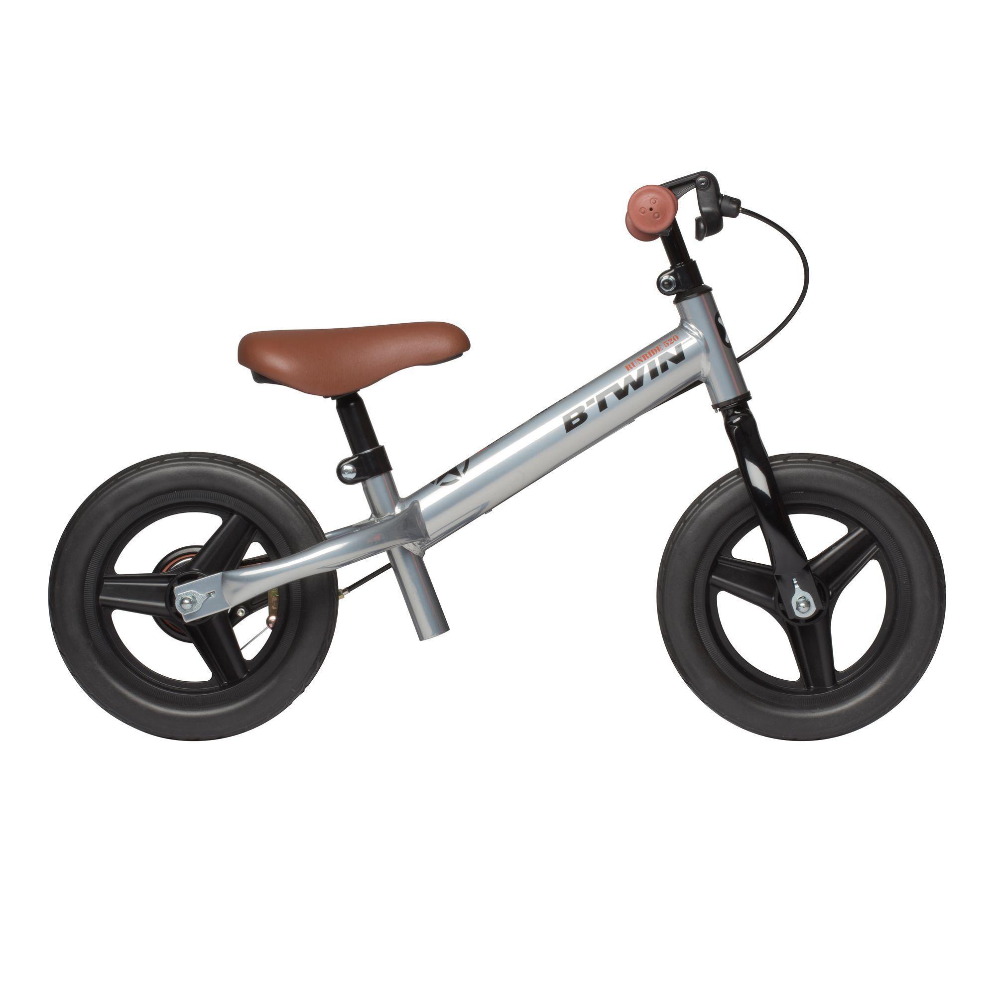 B'twin Loopfietsje Run Ride voor kinderen, 10 inch, Cruiser zilver - unieke grootte