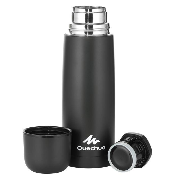 Thermosfles voor wandelingen en trekking rvs 0,7 liter zwart