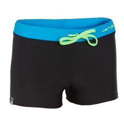 100 PEP BOYS' BOXER SWIM SHORTS - BLACK/BLUE