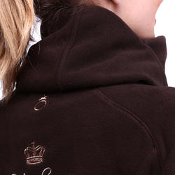 2-in-1 damesfleece met kap HR ruitersport gemêleerd logo - 81457
