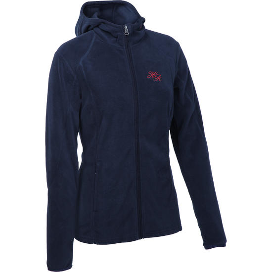 2-in-1 damesfleece met kap HR ruitersport gemêleerd logo - 81478