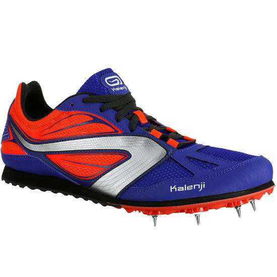 Hardloopschoenen voor kinderen met spikes voor veldlopen, blauw/oranje - 81959