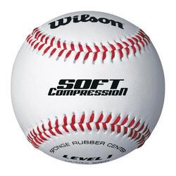Pelota de béisbol Soft Compression blanco 9 pulgadas blanco
