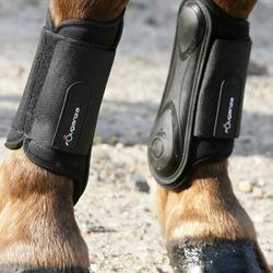 Paire de guêtres fermées équitation poney et cheval SOUPLES noires