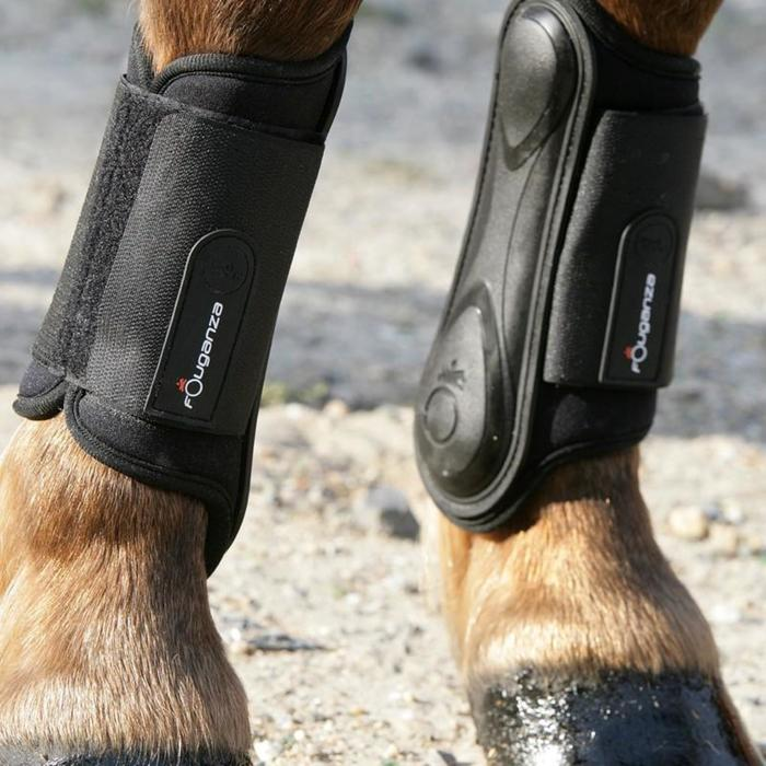 Soft Horse Riding Tendon Boots For Horse Or Pony Twin-Pack - Black - 821458