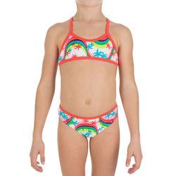 Meisjesbikini met topje zonder sluiting en gekruiste bandjes op de rug Palmier - 822227