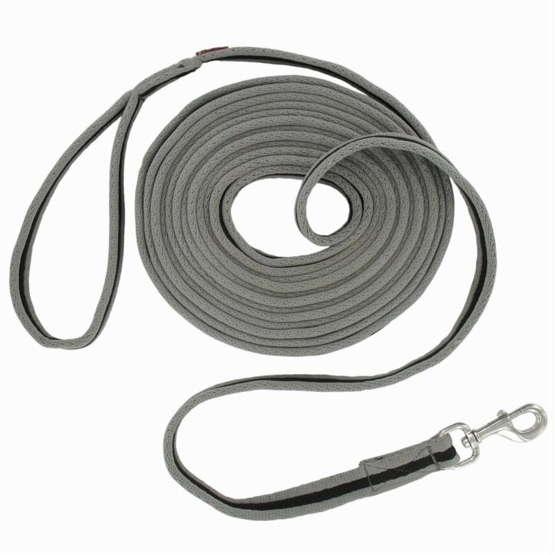 Cuerda de trabajo de equitación SOFT gris y negro