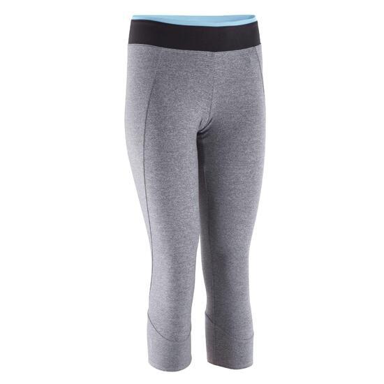 Fitnesslegging 7/8 Energy cardio dames grijs met band in contrastkleur - 823886