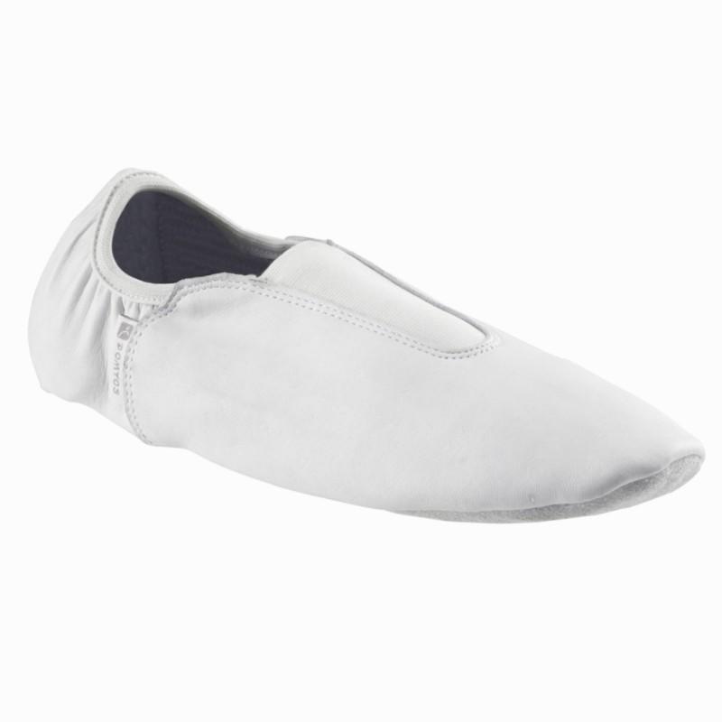 Chaussons bi-semelles cuir gym artistique blanc.
