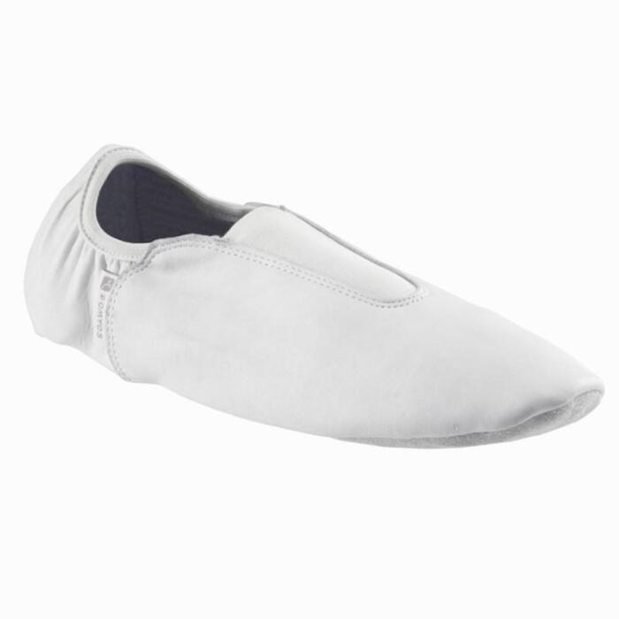 Chaussons Bi-semelles Cuir Gym Artistique blanc. - 824096