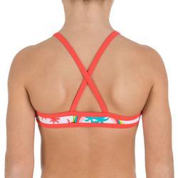 Meisjesbikini met topje zonder sluiting en gekruiste bandjes op de rug Palmier - 824433