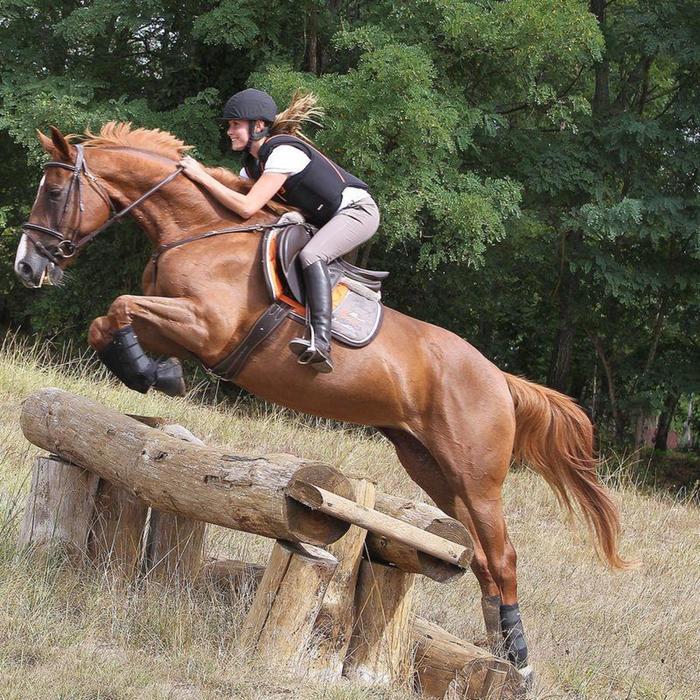 Cincha de cuero equitación Fouganza ROMEO poni y caballo marrón