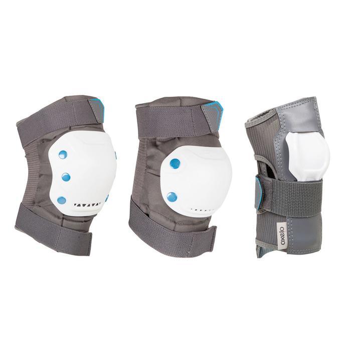 Protektoren Fit 5 Schoner Schützer Inliner Skate 3er-Set Erwachsene grau/weiß