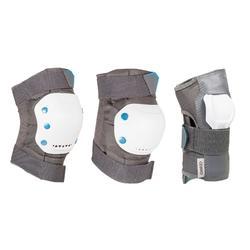 成人直排輪、滑輪、滑輪車護具3件組 Fit 5 - 灰色/白色