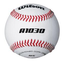 Pelota de béisbol A1030 piel 9 pulgadas blanco