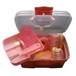 Caja de limpieza + cepillos equitación niño