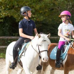 Jongenspolo Horse met korte mouwen ruitersport - 826012