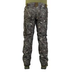 Pantalón caza impermeable cálido 500 camuflaje island verde