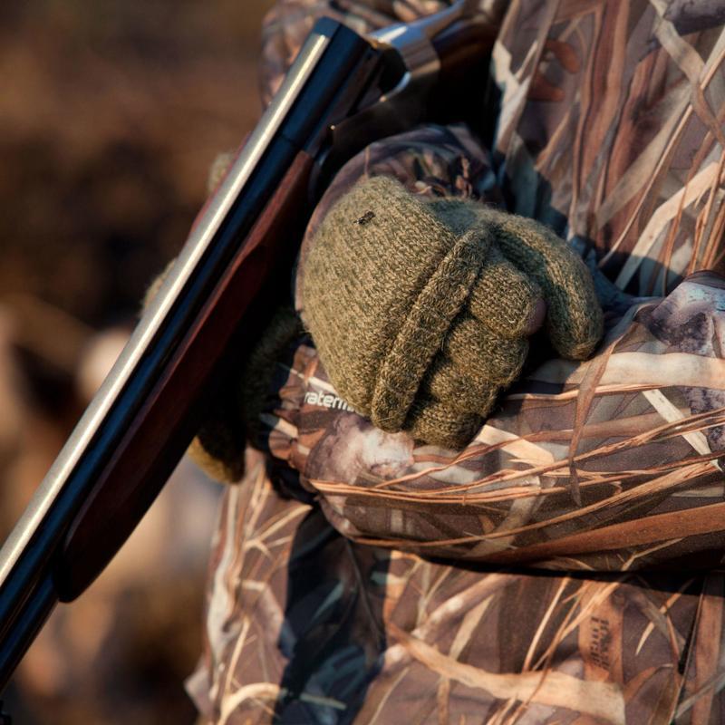 100 Wool Hunting Mittens - Brown