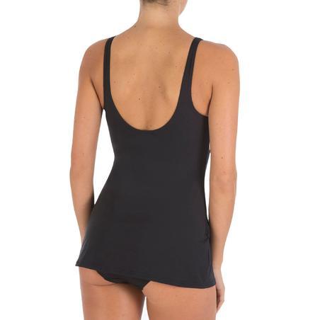 Maillot de bain de natation femme gainant une pièce jupe Kaipearl noir