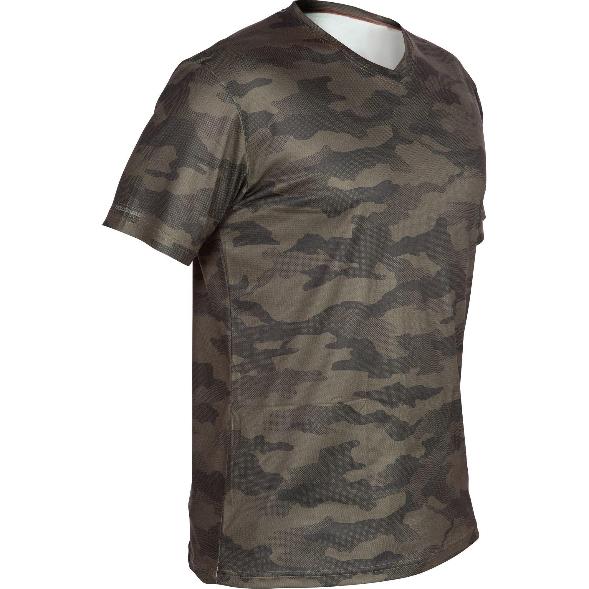 Camiseta de caza SG100 transpirable manga corta camuflaje caqui