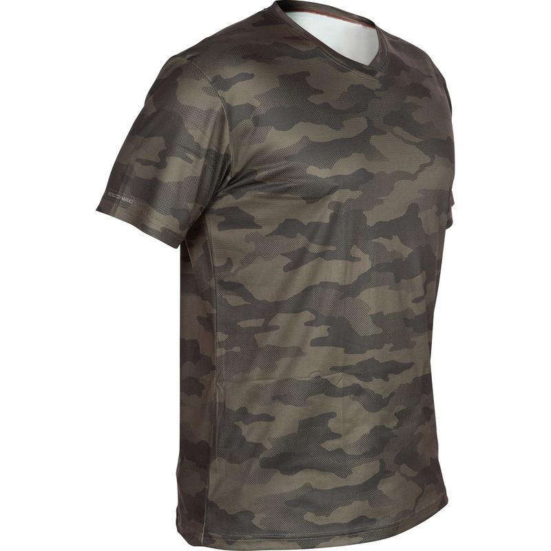 Men's Breathable T-Shirt 100 Camo Khaki