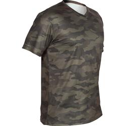 Camiseta Caza Solognac SG100 Manga Corta Transpirable Camuflaje Verde