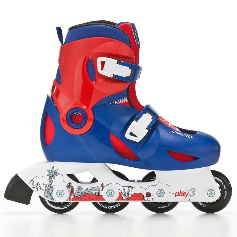 Giày trượt patin 1 hàng PLAY 3 cho trẻ em - Xanh dương/ Đỏ