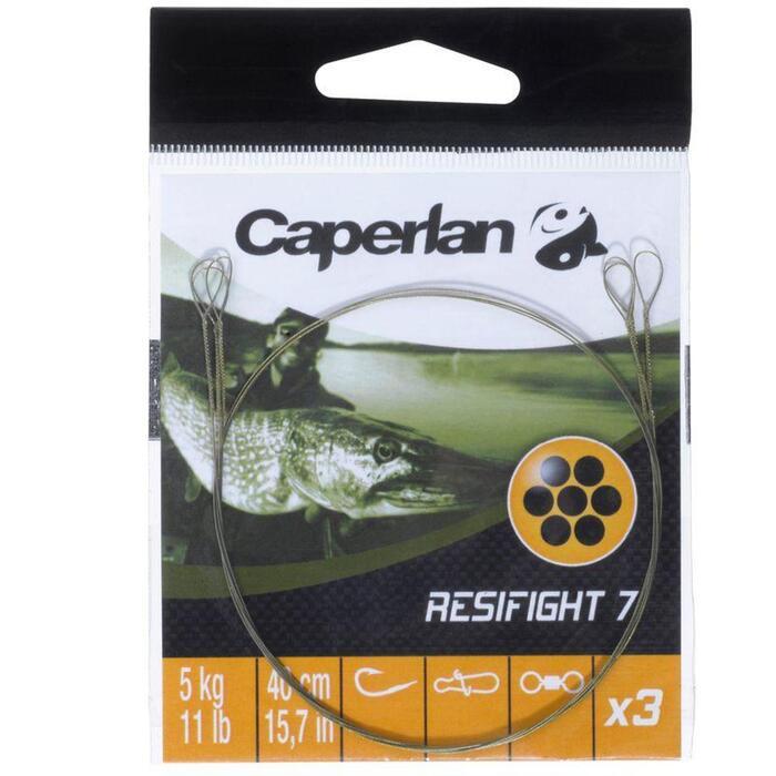 Avançon pêche carnassier RESIFIGHT 7 2 BOUCLES 12KG x3 - 829927