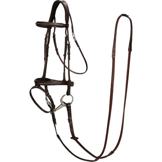 Hoofdstel + teugels Tinckle ruitersport bruin - pony en paard - 830858