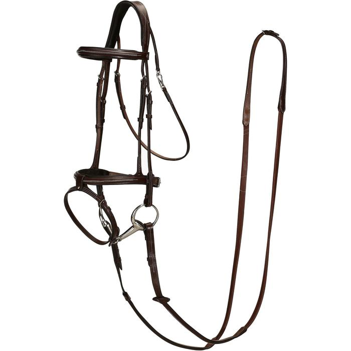 Filet + rênes équitation cheval et poney TINCKLE marron - 830858